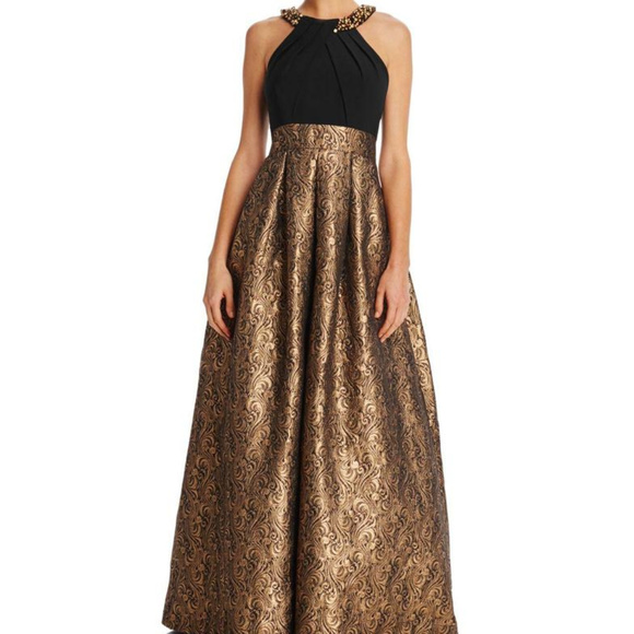 0a060660aa80 Eliza J Dresses | Black Gold Tone Brocade Gown Dress | Poshmark